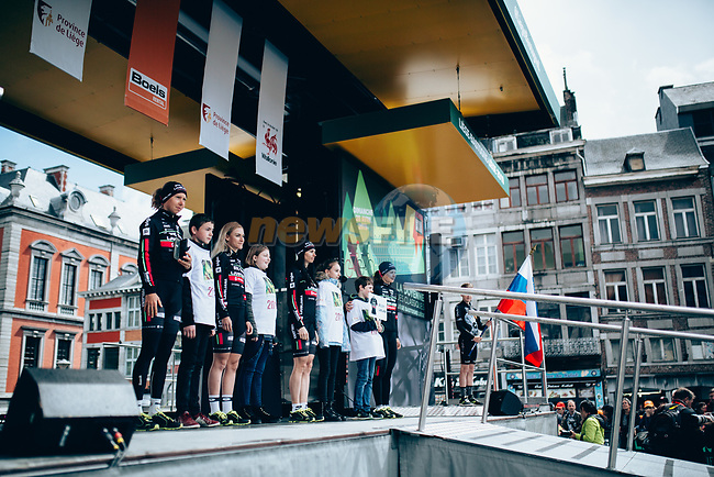 BTC City Ljubljana at team presentation before the 2019 Liège-Bastogne-Liège Femmes,  running 138.5km from Bastogne to Liege, Belgium. 27th April 2019<br /> Picture: ASO/Thomas Maheux | Cyclefile<br /> All photos usage must carry mandatory copyright credit (© Cyclefile | ASO/Thomas Maheux)