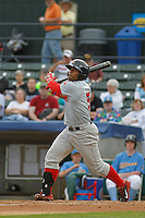 Salem Red Sox outfielder Aneury Tavarez (5) at bat during a game against the Myrtle Beach Pelicans at Ticketreturn.com Field at Pelicans Ballpark on May 6, 2015 in Myrtle Beach, South Carolina.  Salem defeated Myrtle Beach  5-4. (Robert Gurganus/Four Seam Images)