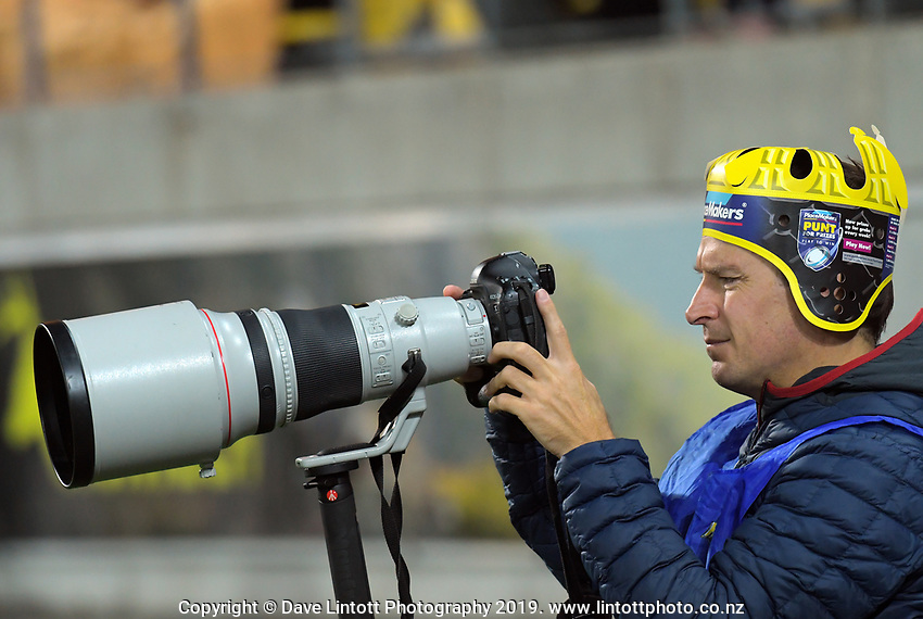 Getty Images photographer Hagen Hopkins chimps  during the Super Rugby match between the Hurricanes and Rebels at Westpac Stadium in Wellington, New Zealand on Saturday, 4 May 2019. Photo: Dave Lintott / lintottphoto.co.nz