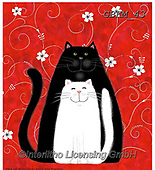 Kate, CUTE ANIMALS, LUSTIGE TIERE, ANIMALITOS DIVERTIDOS, paintings+++++Black cat, white can on red ground,GBKM43,#ac#, EVERYDAY ,cat,cats