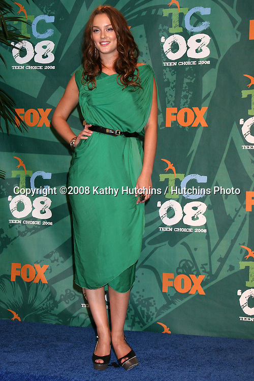 Leighton Meester in the Press Tent at the Teen Choice Awards 2008 at the Universal Ampitheater at Universal Studios in .Los Angeles, CA.August 3, 2008.©2008 Kathy Hutchins / Hutchins Photo