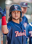 31 May 2018: New Hampshire Fisher Cats infielder Bo Bichette returns to the dugout after hitting a solo home run in the first inning to open the scoring against the Portland Sea Dogs at Northeast Delta Dental Stadium in Manchester, NH. The Sea Dogs defeated the Fisher Cats 12-9 in extra innings. Mandatory Credit: Ed Wolfstein Photo *** RAW (NEF) Image File Available ***