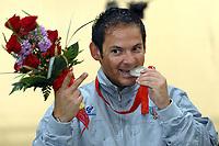 Giovanni Pellielo medaglia d'argento morde la medaglia esultanza<br /> Beijing National Shooting all. Trap uomini.<br /> Pechino - Beijing 10/8/2008 Olimpiadi 2008 Olympic Games<br /> Foto Andrea Staccioli Insidefoto