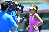 January 10, 2017: Sorana Cirstea (ROM) conducts and interview after winning a match against Destanee Aiava (AUS) on day one of the 2017 Priceline Pharmacy Kooyong Classic tournament at the Kooyong Lawn Tennis Club in Melbourne, Australia. Cirstea won 61 76. Sydney Low/AsteriskImages