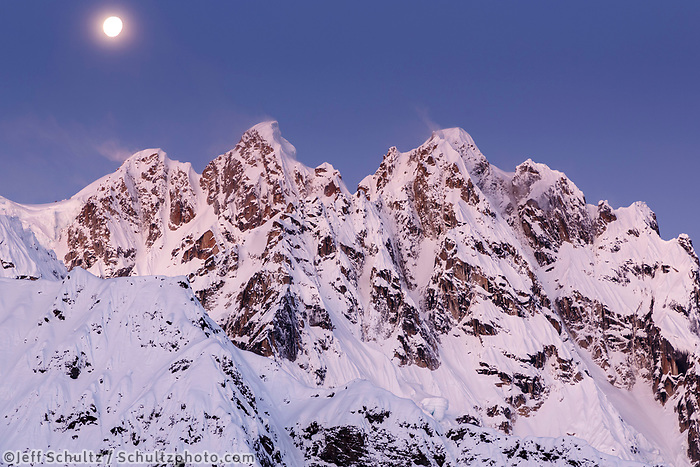 Winter landscape of moon over the Roosters Comb in the RuthAmphitheater in the Alaska Range.  Winter 2017<br /> <br /> Photo by Jeff Schultz/SchultzPhoto.com  (C) 2017  ALL RIGHTS RESERVED