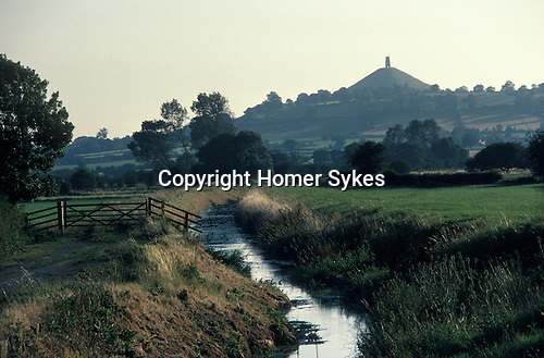 "Glastonbury Tor Somerset. The tower the ruin of ""St Michaels church"". England"