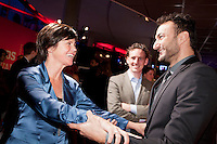 Nederland, Utrecht, 24 oktober 2014. Het 34ste Nederlands Film Festival 2014. Openingsavond NFF 2014 met premiere Bloedlink. Vlnr; festivaldirecteur Willemien van Aalst, Jurriaan Rammeloo (NFF), NNasrdin Dchar. Foto: 31pictures.nl / The Netherlands, Utrecht, 24 September 2014. The 34rd Netherlands Film Festival 2014. NFF 2014 opening night with premiere Bloedlink. From left;  festival director Willemien van Aalst, Jurriaan Rammeloo (NFF), Nasrdin Dchar. Photo: 31pictures.nl / (c) 2014, www.31pictures.nl