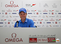 Danny Willett (ENG) happy as can be as he wins the Final Round of the 2016 Omega Dubai Desert Classic, played on the Emirates Golf Club, Dubai, United Arab Emirates.  07/02/2016. Picture: Golffile | David Lloyd<br /> <br /> All photos usage must carry mandatory copyright credit (&copy; Golffile | David Lloyd)