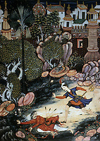 """Mughal India:  """"Amir and a Fallen Stranger Outside the Castle of Fulad"""", 1562-1577.  Michael Brand and Glenn D. Lowry, AKBAR'S INDIA. Art from the Mughal City of Victory, 1985."""