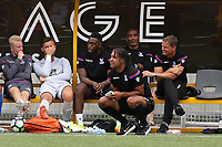 Crystal Palace U23 Coach, Richard Shaw crouches down as Crystal Palace Manager, Frank De Boer looks on alongside his Assistant, Orlando Trustfull during Maidstone United  vs Crystal Palace, Friendly Match Football at the Gallagher Stadium on 15th July 2017