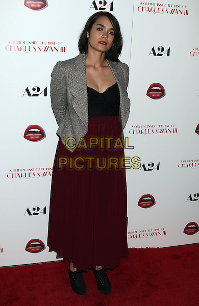 "Shannyn Sossamon.""A Glimpse Inside The Mind of Charles Swan III"" Los Angeles Premiere held at ArcLight Cinemas, Hollywood, California, USA..February 4th, 2013.full length blazer black grey gray top red skirt.CAP/ADM/RE.©Russ Elliot/AdMedia/Capital Pictures."