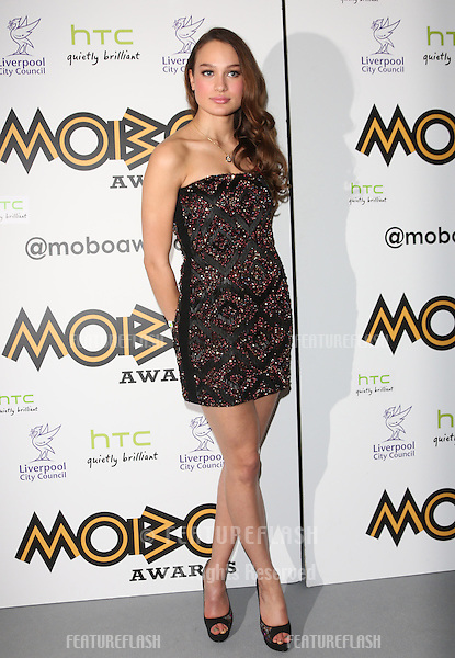 Letitia Herod in the press room for The MOBO awards 2012 held at the Echo Arena, Liverpool. 03/11/2012 Picture by: Henry Harris / Featureflash