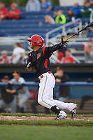 Batavia Muckdogs left fielder Jhonny Santos (13) gets a base hit during a game against the West Virginia Black Bears on June 24, 2017 at Dwyer Stadium in Batavia, New York.  The game was suspended in the bottom of the third inning and completed on June 25th with West Virginia defeating Batavia 6-4.  (Mike Janes/Four Seam Images)