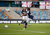 14th July 2020; The Den, Bermondsey, London, England; English Championship Football, Millwall Football Club versus Blackburn Rovers; Mason Bennett of Millwall shoots to score his sides 1st goal in the 24th minute to make it 1-0