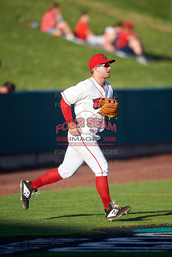 Orem Owlz third baseman Morgan McCullough (18) jogs onto the field before a Pioneer League game against the Idaho Falls Chukars at The Home of the OWLZ on August 13, 2019 in Orem, Utah. Orem defeated Idaho Falls 3-1. (Zachary Lucy/Four Seam Images)
