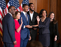 United States Representative Jahana Hayes (Democrat of Connecticut) poses for a mock swearing-in photo with Speaker of the US House of Representatives Nancy Pelosi (Democrat of California) and members of her family as the 116th Congress convenes for its opening session in the US Capitol in Washington, DC on Thursday, January 3, 2019. Photo Credit: Ron Sachs/CNP/AdMedia