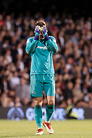 Scott Carson of Derby County dejected during the Sky Bet Championship play off semi final 2nd leg match between Fulham and Derby County at Craven Cottage, London, England on 15 May 2018. Photo by Carlton Myrie / PRiME Media Images.