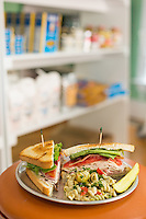 Club sandwich and pasta salad at Quality Grocery in Raleigh, N.C. on Friday, July 25, 2014. (Justin Cook)