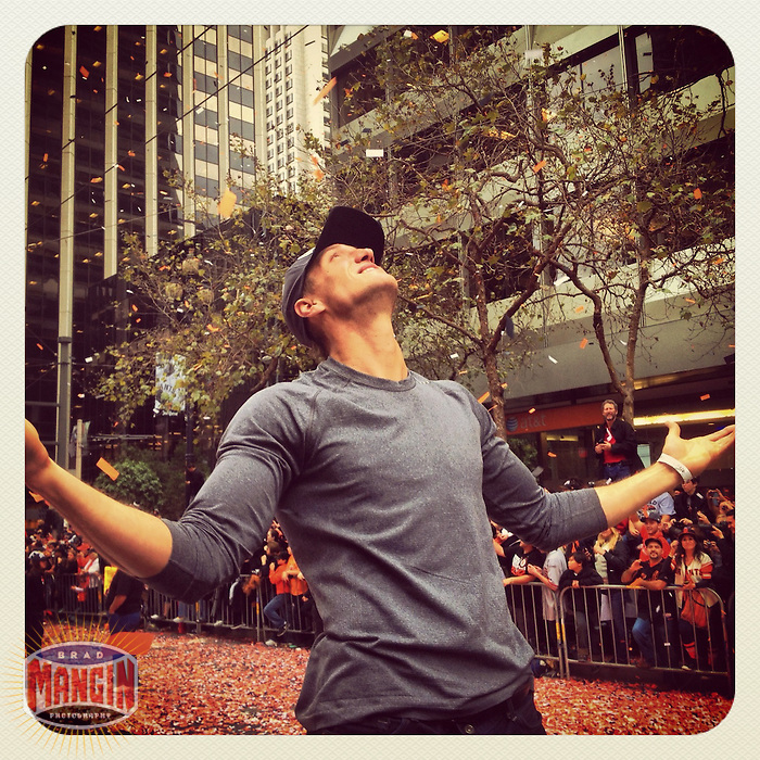 SAN FRANCISCO - OCTOBER 31: Instagram of Hunter Pence during the San Francisco Giants World Series Parade on Market Street on October 31, 2012 in San Francisco, California. Photo by Brad Mangin