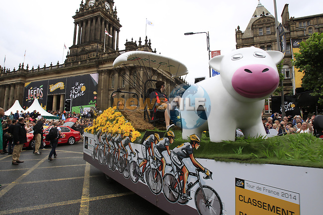 The publicity caravan rolls through Leeds city centre before the start Stage 1 of the 2014 Tour de France running 190.5km from Leeds to Harrogate. 5th July 2014.<br /> Picture: Eoin Clarke www.newsfile.ie