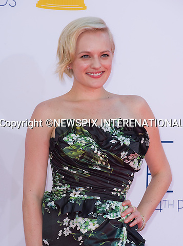 "ELIZABETH MOSS - 64TH PRIME TIME EMMY AWARDS.Nokia Theatre Live, Los Angelees_23/09/2012.Mandatory Credit Photo: ©Dias/NEWSPIX INTERNATIONAL..**ALL FEES PAYABLE TO: ""NEWSPIX INTERNATIONAL""**..IMMEDIATE CONFIRMATION OF USAGE REQUIRED:.Newspix International, 31 Chinnery Hill, Bishop's Stortford, ENGLAND CM23 3PS.Tel:+441279 324672  ; Fax: +441279656877.Mobile:  07775681153.e-mail: info@newspixinternational.co.uk"