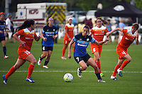 Kansas City, MO - Saturday May 07, 2016: FC Kansas City midfielder Mandy Laddish (7) against Houston Dash defenders Allysha Chapman (15) and Rebecca Moros (4) during a regular season National Women's Soccer League (NWSL) match at Swope Soccer Village. Houston won 2-1.