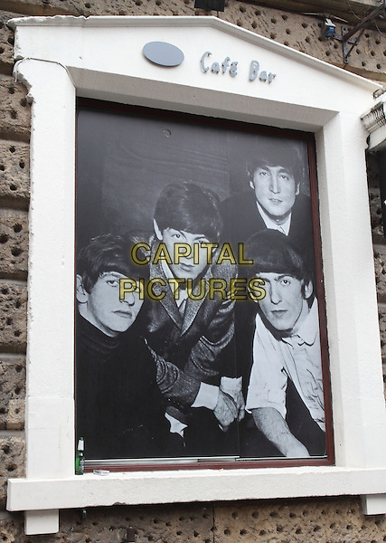 LIVERPOOL, ENGLAND - JUNE 01: The Beatles poster, in Mathew Street on June 01, 2014 in Liverpool, England, UK<br /> CAP/ROS<br /> &copy;Steve Ross/Capital Pictures