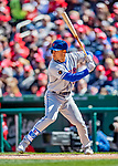 5 April 2018: New York Mets outfielder Michael Conforto at bat against the Washington Nationals during the Nationals' Home Opener at Nationals Park in Washington, DC. The Mets defeated the Nationals 8-2 in the first game of their 3-game series. Mandatory Credit: Ed Wolfstein Photo *** RAW (NEF) Image File Available ***