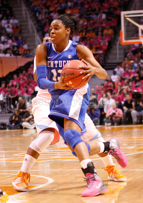 UK guard Bria Goss drives the ball during the second half of the UK Women's basketball game against University of Tennessee on 2/13/12 in Knoxville, Tn. Photo by Quianna Lige | Staff