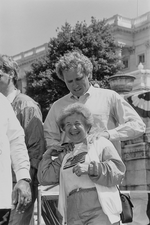 During the Great American Workout, Rep. Joseph P. Kennedy II, D-Mass. meets with Dr. Ruth in May 1990. (Photo by Maureen Keating/CQ Roll Call)