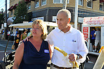Bellmore, New York, USA. September 20, 2015. R-L, U.S. Senator CHARLES (CHUCK) SCHUMER (Democrat - New York), and CLAUDIA BORECKY, of Merrick, the Democratic candidate for Nassau County Legislative District 19, at the 29th Annual Bellmore Family Street Festival, featuring family fun with exhibits and attractions, with over 100,000 people expected to attend over the weekend. The popular Nassau County fair is made possible,  by volunteers from the Chamber of Commerce of the Bellmores, the event host.