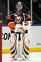 Jan 15, 2009; Uniondale, NY, USA; New York Islanders goaltender Yann Danis (34) against Boston Bruins at the Nassau Coliseum. Mandatory Credit: Tomasso DeRosa
