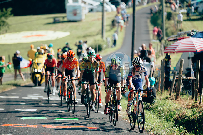 The breakaway featuring Alexandra Manly and Sarah Roy (AUS) Mitchelton-Scott, Karol-Ann Canuel (CAN) Boels Dolmans, Jeanne Korevaar (NED) CCC-Liv, Elise Chabbey (SUI) and Nikola Noskova (CZE) Bigla, Alexis Ryan (USA) Canyon-SRAM, Liane Lippert (GER) Sunweb, Audrey Cordon-Rago (FRA) Trek-Segafredo, Evita Muzic (FRA) FDJ Nouvelle-Aquitaine Futuroscope and Sofie de Vuyst (BEL) Parkhotel-Valkenburg during La Course 2019 By Le Tour running 121km from Pau to Pau, France. 19th July 2019.<br /> Picture: ASO/Thomas Maheux | Cyclefile<br /> All photos usage must carry mandatory copyright credit (© Cyclefile | ASO/Thomas Maheux)