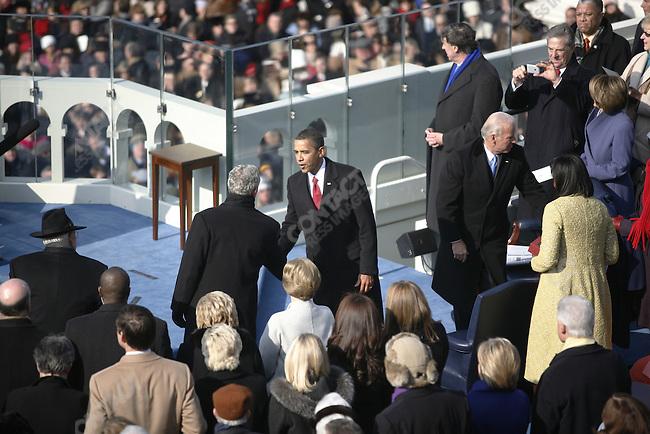 Inauguration of Barack Obama as the 44th President of the United States of America, President-elect Barack Obama greets President George W. Bush. Washington, D.C., January 20, 2009