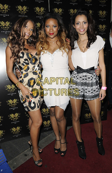 The Honeyz<br /> The Lipsy VIP Fashion Awards 2013, DSTRKT, Rupert St., London, England.<br /> May 29th, 2013<br /> full length black strapless top white black leopard print yellow shorts lace band group <br /> CAP/CAN<br /> &copy;Can Nguyen/Capital Pictures