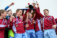 Aaron Connolly (At age 14), centre, of Mervue United U14, celebrates winning the Connacht Cup with his teammates.<br /> <br /> 3/5/14, Mervue United v Castlebar Celtic, U14 Connacht Cup Final, Moyne Villa FC, Headford, Co. Galway.