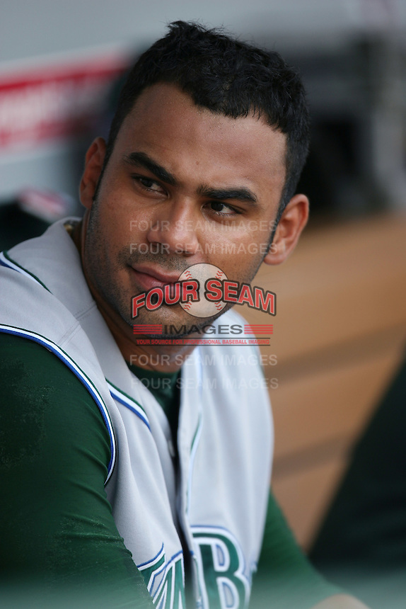 Carlos Pena of the Tampa Bay Rays during a game from the 2007 season at Angel Stadium in Anaheim, California. (Larry Goren/Four Seam Images)