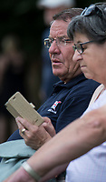 """Lucerne, SWITZERLAND, 14th July 2018, Saturday, """"GBRowing Head Coach"""", """"Jurgan GROBLER"""",, sit's with the civialians,  while watching the crews boat,  View, FISA World Cup III Lake Rotsee, © Peter SPURRIER,"""