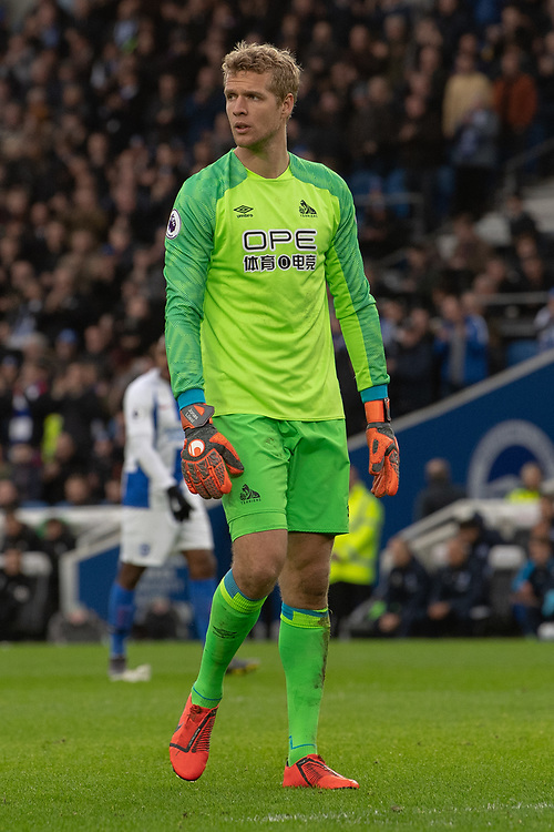 Huddersfield Town's Jonas Lossl<br /> <br /> Photographer David Horton/CameraSport<br /> <br /> The Premier League - Brighton and Hove Albion v Huddersfield Town - Saturday 2nd March 2019 - The Amex Stadium - Brighton<br /> <br /> World Copyright © 2019 CameraSport. All rights reserved. 43 Linden Ave. Countesthorpe. Leicester. England. LE8 5PG - Tel: +44 (0) 116 277 4147 - admin@camerasport.com - www.camerasport.com