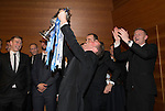 St Johnstone FC Scottish Cup Celebration Dinner at Perth Concert Hall...01.02.15<br /> Chris Millar and the players enjopy reliving the moment the Scottish Cup was lifted<br /> Picture by Graeme Hart.<br /> Copyright Perthshire Picture Agency<br /> Tel: 01738 623350  Mobile: 07990 594431