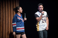 Ashley Rivera '19 and Austin Wilson '19, the charismatic and welcoming hosts of Apollo Night.<br /> Occidental College students perform and compete during Apollo Night, one of Oxy's biggest talent showcases, on Feb. 24, 2017 in Thorne Hall. Sponsored by ASOC and hosted by the Black Student Alliance as part of Black History Month.<br /> (Photo by Marc Campos, Occidental College Photographer)