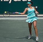 Madison Keys (USA) defeats Lauren Davis (USA) 6-2, 6-2 at the Family Circle Cup in Charleston, South Carolina on April 10, 2015.