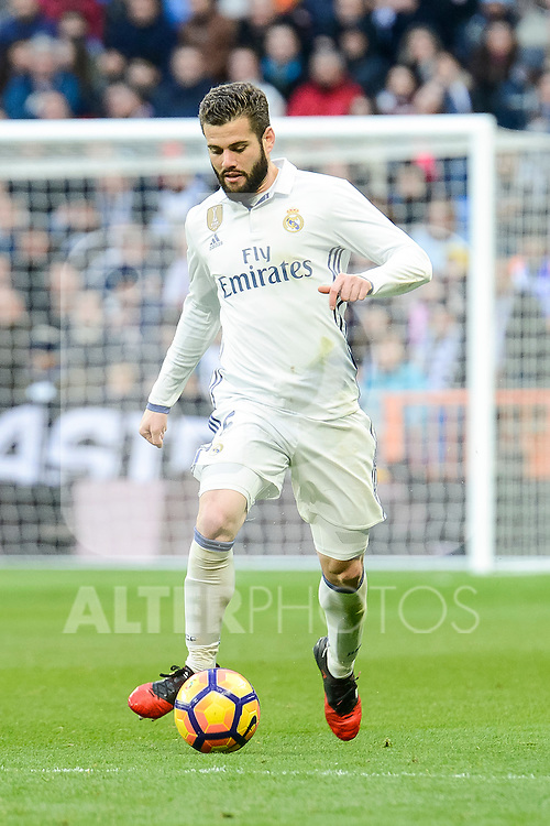 Real Madrid's Nacho Fernandez during La Liga match between Real Madrid and Malaga CF at Santiago Bernabeu Stadium in Madrid, Spain. January 21, 2017. (ALTERPHOTOS/BorjaB.Hojas)