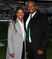 Motshidisi Mohono Supersport rugby commentator with Xola Ntshinga Supersport rugby commentator during the 2018 Castle Lager Incoming Series 2nd Test match between South Africa and England at the Toyota Stadium.Bloemfontein,South Africa. 16,06,2018 Photo by Steve Haag / stevehaagsports.com