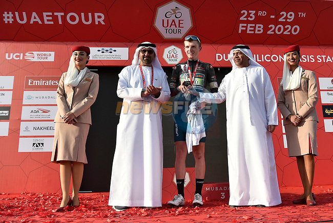 Veljko Stojnic wears the Black Jersey at the end of Stage 1 of the UAE Tour 2020 running 148km from The Pointe to Dubai Silicon Oasis, Dubai. 23rd February 2020.<br /> Picture: LaPresse/Fabio Ferrari | Cyclefile<br /> <br /> All photos usage must carry mandatory copyright credit (© Cyclefile | LaPresse/Fabio Ferrari)
