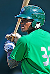29 June 2012: Vermont Lake Monsters' outfielder Kelvin Rojas awaits his turn in the batting cage prior to a game against the Lowell Spinners at Centennial Field in Burlington, Vermont. Mandatory Credit: Ed Wolfstein Photo