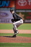 Modesto Nuts relief pitcher Joey Garber (12) during a California League game against the Inland Empire 66ers on April 10, 2019 at San Manuel Stadium in San Bernardino, California. Inland Empire defeated Modesto 5-4 in 13 innings. (Zachary Lucy/Four Seam Images)