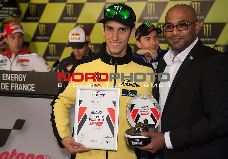 Monster Energy Grand Prix de France in Le Mans 15.-17.05.2015, Qualifying Press Conference Winner Qualifying Moto 2.<br /> <br /> 40 Alex Rins<br /> <br /> Foto &copy; nordphoto / FSA