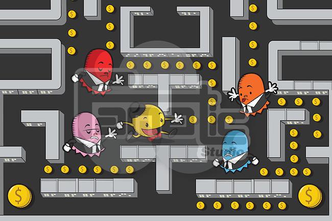 Businessmen in Pac-Man game maze