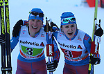 Russian's Winner Ladies Team. Team sprint of the FIS Cross Country Ski World Cup  in Dobbiaco, Toblach, on January 15, 2017. For ladies Russia wins ahead of Sweden and Norway. For men's Canada wins ahead of Sweden and Italy's with Dietmar Noeckler and Federico Pellegrino. Credit: Pierre Teyssot